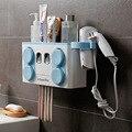 Familie Zahnbürste Halter Set Einfach Installieren Kunststoff Bad Zahnbürste Lagerung Rack Zahnpasta Spender mit 4 Tasse|Zahnbürsten- und Zahnpasta-Halter|Heim und Garten -