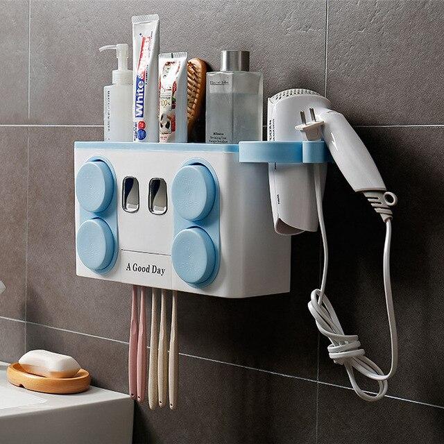 Juego de soporte para cepillo de dientes familiar, estante de almacenamiento de cepillos de dientes de plástico de fácil instalación, dispensador de pasta dental con 4 tazas