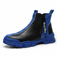 Brand Men's High top Sneakers Platform Fashion Men's Boots Breathable Casual Shoes Punk Style Male Cowboy Boots Genuine Leather