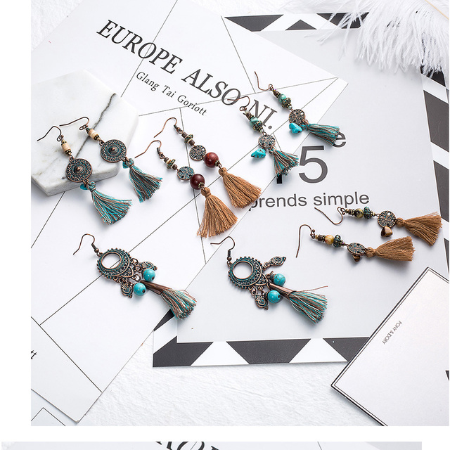 Antique Vintage Bohemian Ethnic Tassel Fringe Leaf Stones Earrings For Women Girls Anniversary Wedding Party Jewelry Charms 5