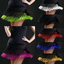 Women Latin Dance Skirts Tango Rumba Salsa Cha-cha Ballroom Fringe Tassels Mini Dancewear 803-567
