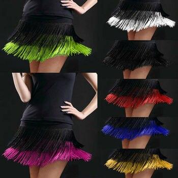 Women Latin Dance Skirts Tango Rumba Salsa Cha-cha Ballroom Fringe Tassels Mini Dancewear 803-567 tango csp282 34