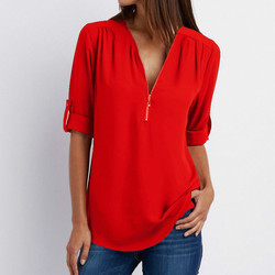 Zipper Short Sleeve Women Shirts 2021 Sexy V Neck Solid Womens Tops And Blouses Casual Tee Shirts Tops Female Clothes Plus Size