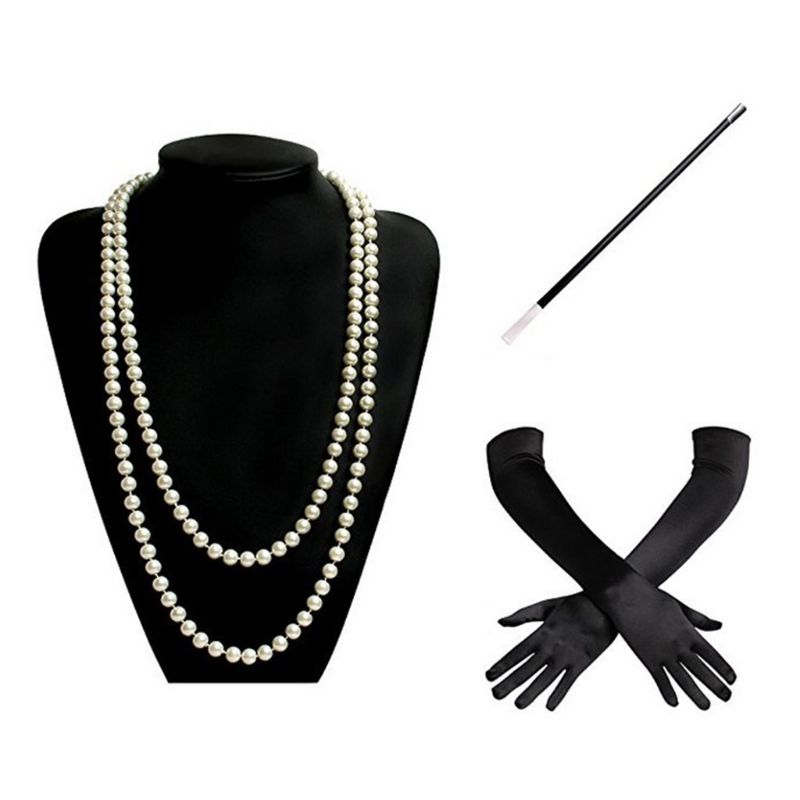 1920s Charleston Flapper Girl Costume Set Fancy Dress Imitation Pearl Bead Necklace Long Black Gloves Cigarette Holder For Women