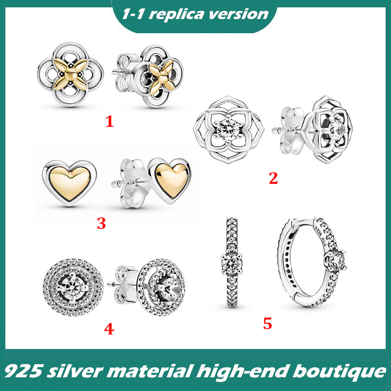 серьги show the charm of women's earrings, suitable for the original Pandora,Heart Earrings Flower Earrings,Best gift for ladies