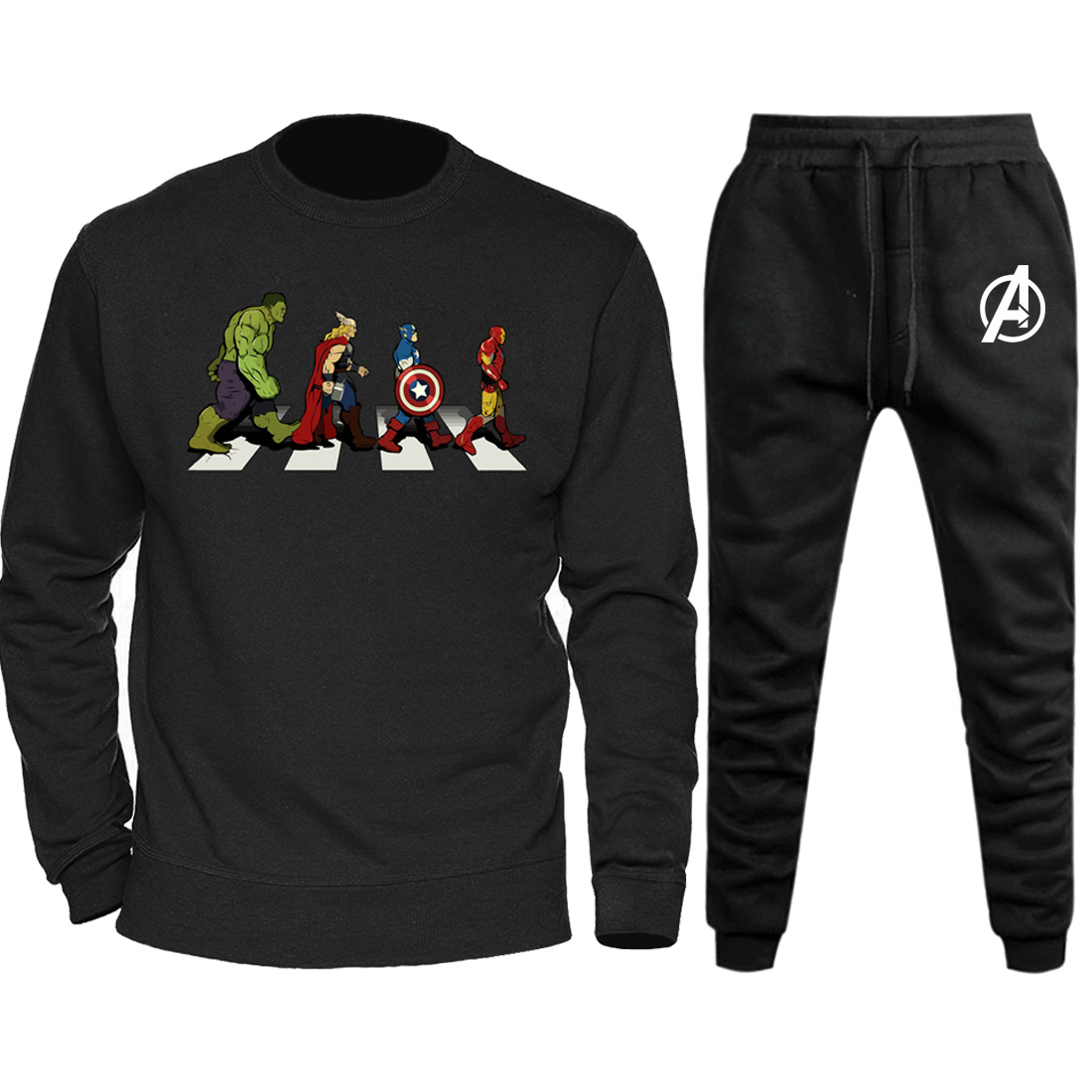 Men Hoodies+Pant Sets Marvel Spiderman Iron Man Avengers 2019 Autumn Winter Men's Hoodie Funny Hip Hop Streetwear Sweatshirt Set
