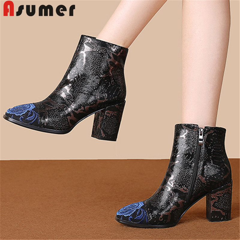 ASUMER Women Boots Party-Shoes Embroidery High-Heels Zipper Thick New 34-43 Ankle Plus-Size