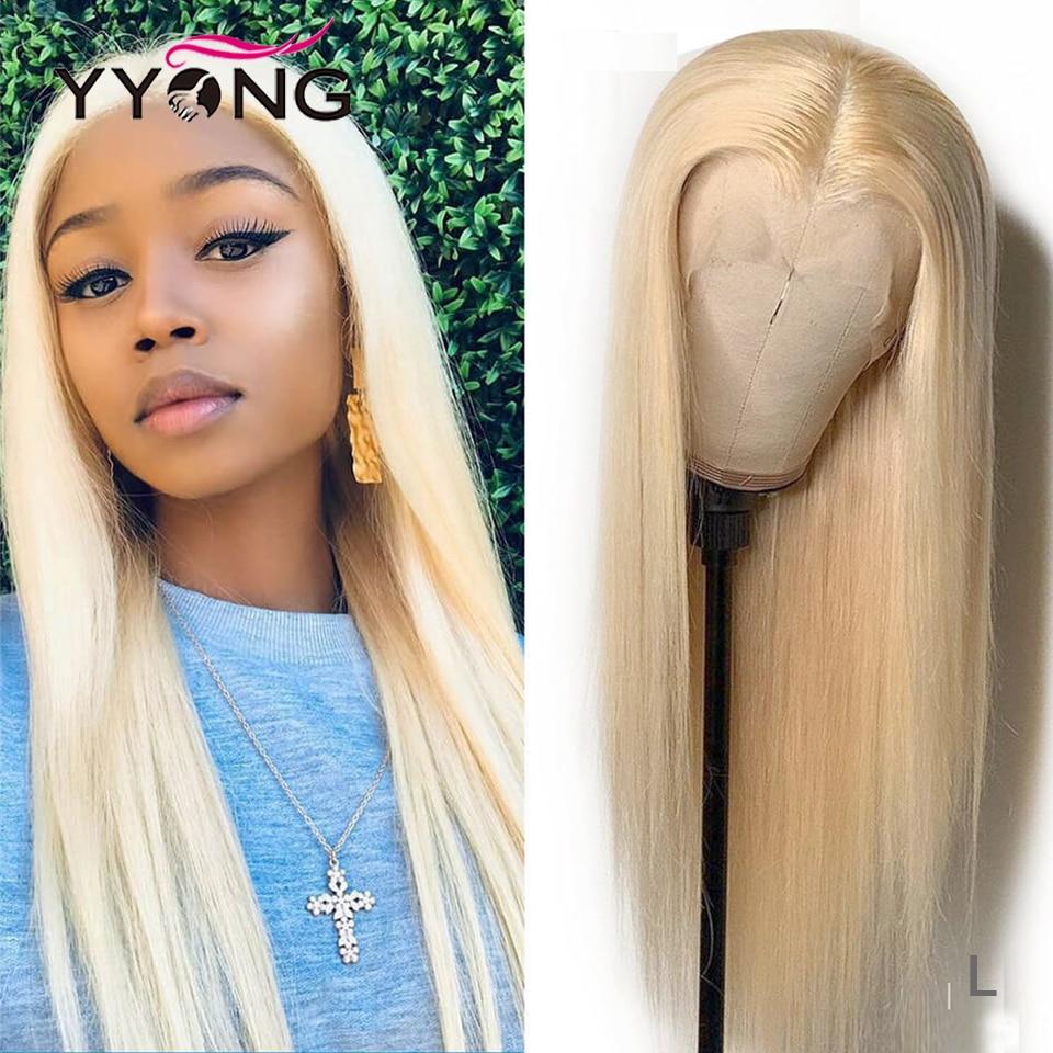 Yyong 613 Blond 13x4 dentelle avant perruques de cheveux humains pour les femmes noires pré plumé avec des cheveux de bébé brésilien droite Remy 28 30 pouces 120