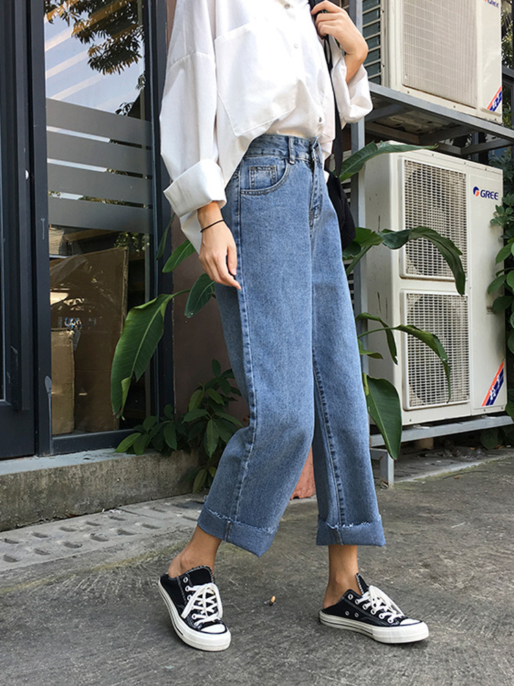 Online Celebrity Style Jeans Female Spring 2019 New Style Straight-leg Pants High-waisted Capri Pants Students Versatile Pants T