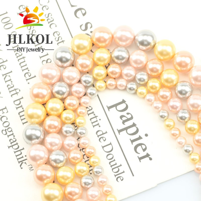 Natural Freshwater Yellow Orange Color Mixing Pearl Bead Round Baroque 6-12mm Pearls For Jewelry Making DIY Bracelet 15inch