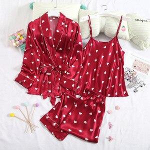 Image 5 - Fiklyc roupa interior de três peças feminino dot cetim pijamas define manga longa outono calças compridas pijamas conjuntos feminino sexy nightwear