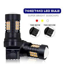 2 pçs lâmpada de sinal do carro t20 led 7443 w21/5w w21 5 wy21/5w lâmpadas 7440 wy21w w21w 3030 21smd canbus volta freio backup luz reversa
