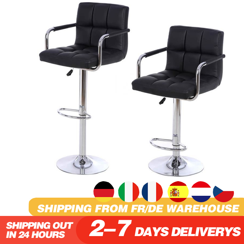 2pcs High-footed Chair High Backrest Heightened Single-person Bar Stool Coffee Shop Home Metal Bar Chairs HWC