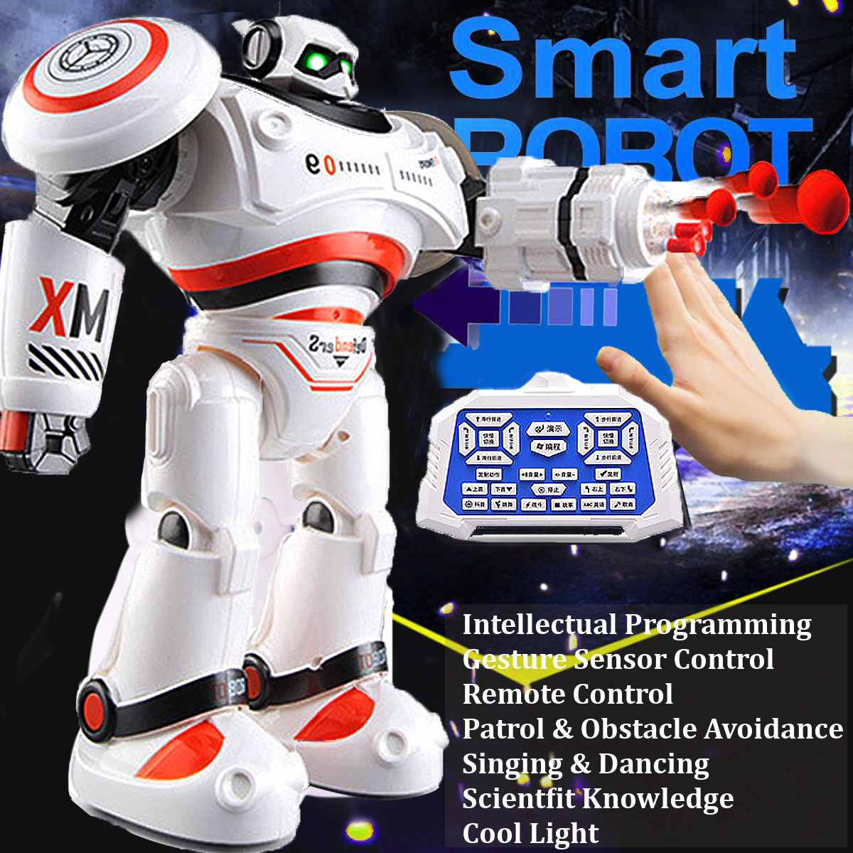 RC Robot AD Polices Files Programmable Combat Defenders Intelligent RC Robot Remote Control Toy for Kids