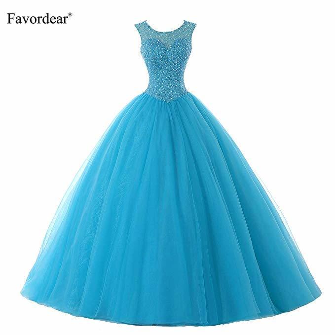 Robe De 15 Anos Turquoise perles Quinceanera robes De bal doux 15 à lacets retour Blush robes De bal