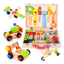 Simulation Wooden Tool Box with Tools Kids Pretend Play Construction Toys for Children Housekeeping Role Play Toys Birthday Gift