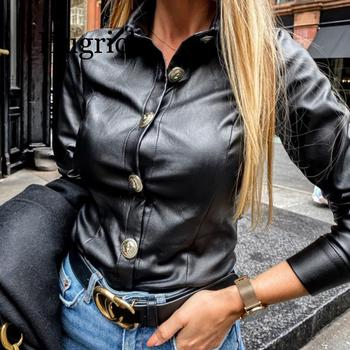 2020 Faux Leather Blouse Women Long Sleeve Shirts Blouses Casual Button PU Leather Blouse Turn Down Collar Ladies Tops Blusas new plus size women tops blouses long sleeve button turn down collar contrast color spring autumn casual ladies shirts blusas