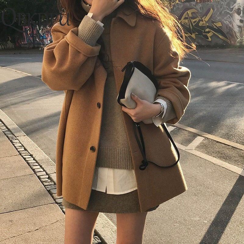 Spring Autumn Woolen Single-breasted Coat Female Mid-Long New Korean Temperament Women Popular Outerwear Woolen Coat Streetwear