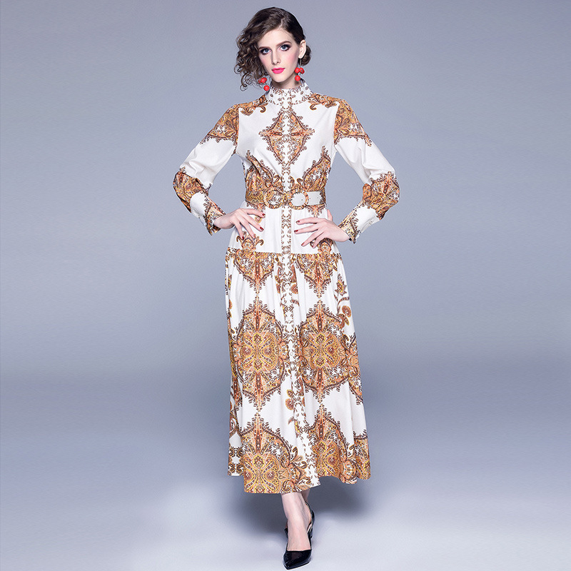 Australia Lady 2019 Suit-dress women summer Loose Printing Long Sleeve Dress fashion woman clothes
