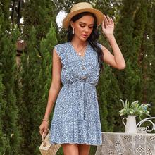 Primavera nova impressão floral sem mangas vestido feminino casual babados cintura alta botão vestido para mulher 2021 estilo de férias vestido de verão