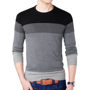 Male Sweaters Pullover Men Casual Knitted Plus-Size New Round-Neck 3XL Spring Brand Patchwork
