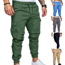 Men Casual Solid Color Pockets Waist Drawstring Ankle Tied Skinny Cargo