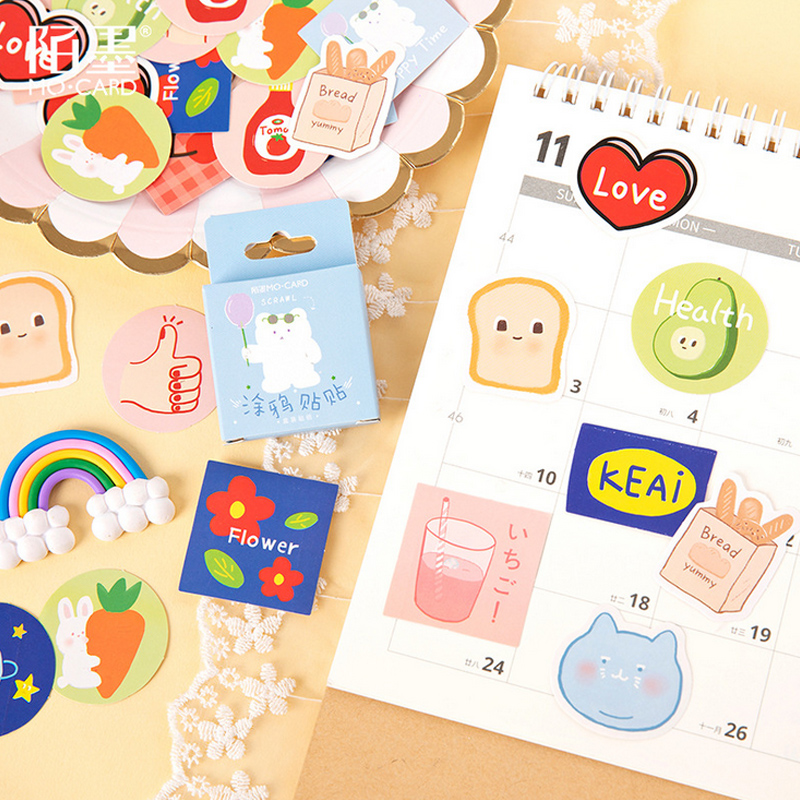 45 Pcs/Box Cute Cartoon Doodle Mini Decoration Paper Sticker Decoration DIY Album Diary Scrapbooking Label Sticker