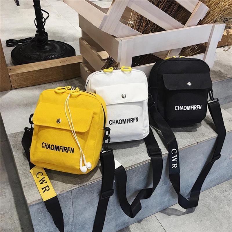 Women Men Fashion Shoulder Bags Canvas Letter Printing Small Messenger Bag Large Capacity Outdoor Crossbody Handbags