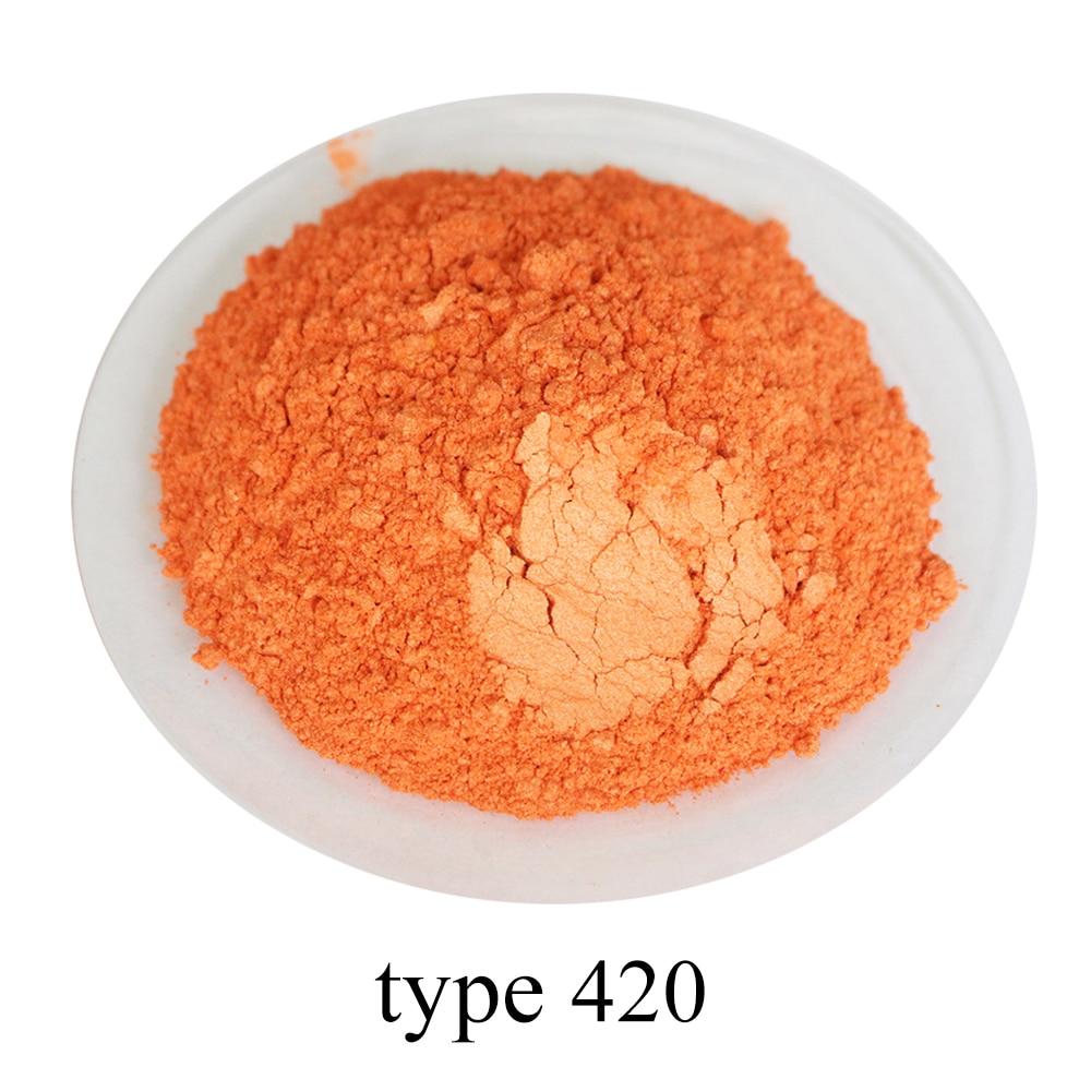 Type 420 Orange Pearl Powder Pigment Mineral Mica Powder DIY Dye Colorant In Soap Automotive Art Craft 50g Acrylic Paint Pigment