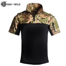 Military Tactical T Shirt Outdoor Sport Quick Dry Lapel Short Sleeve Shirt Summer Hiking Training Tee Men Clothing Casual Tops