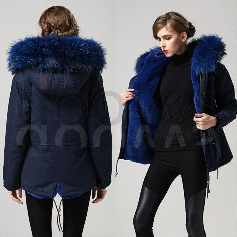 Bleu chaud hiver Mrs manteau de fourrure parka avec grand réel fourrure de raton laveur col veste capuche vêtements d'extérieur prix Direct fabricant
