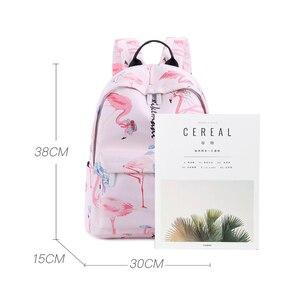 Image 4 - Flamingo Printing Mini Women Backpack Waterproof Nylon College Student School Bags For Teenage Girls Bookbag female Casual Daily