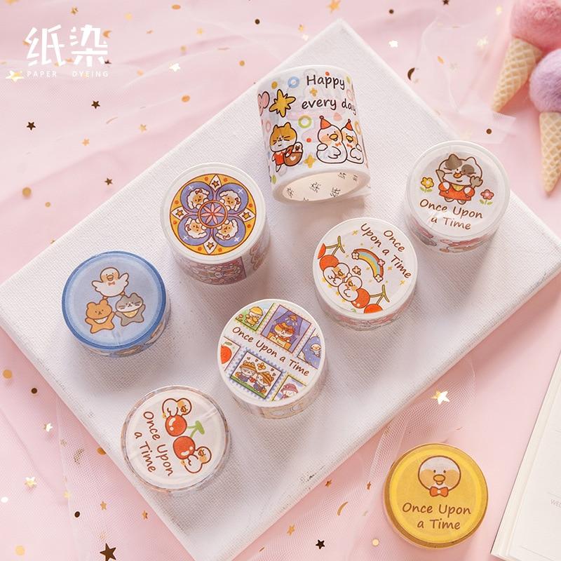 Cartoon Animal Series Cat Bullet Journal Washi Tape Vintage Adhesive Masking Tape DIY Scrapbooking Sticker Label Japanese