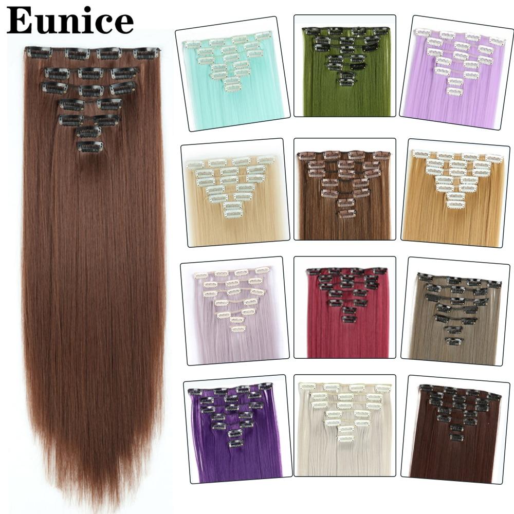 7 шт., Синтетические длинные прямые накладные волосы, 22 дюйма Синтетические прикрепляющиеся пряди      АлиЭкспресс