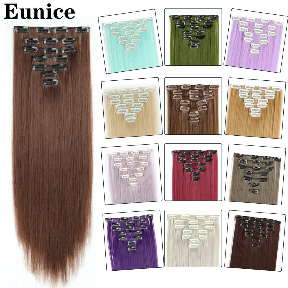 Synthetische Lange Rechte Clip in Hair Extensions 22inch Vrouwen Fake Valse Haarstukken Ombre Zwart Bruin Blond Styling Haar 7Pcs
