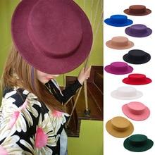 女性フラットウールフェルト帽子チルト fascinators ウールドレス fedoras カンカン帽子帽子帽子ベース結婚式のためのパーティー帽子送料サイズ