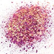 50g cor-de-rosa camaleão chunky glitter, ilusão ótica (mudança de cor): mistura de glitter robusto * tumblers, arte do prego, arte da resina, cosméticos