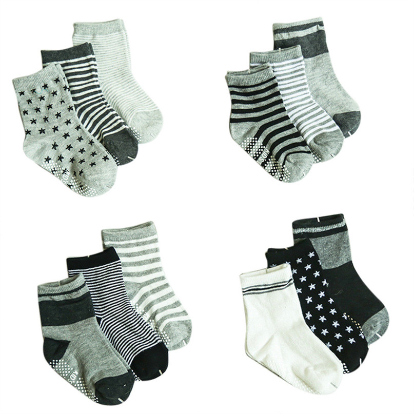 12 Pairs Non Skid Ankle Cotton Socks Baby Stripes Star Sneakers Crew Socks For Adult 30LY26 (1)
