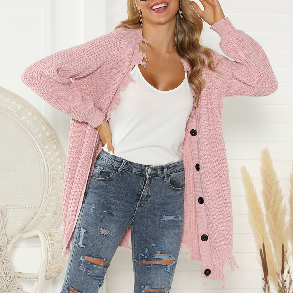 2020 Autumn Winter Fashion Women Long Sleeve Loose Knitting Cardigan Pink Hole Sweater Women Knitted Female Cardigan Femme