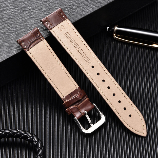 Croc Embossed Calfskin Leather Watchband (Multiple Colours) 5