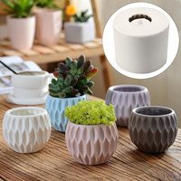 9*7.6cm 3D Concrete Planter Cactus Cement Silicone Mold DIY Clay Craft Flower Pot Mold Silicone Ceramic Plaster Vase Mould