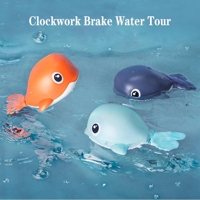 Baby Beach Bath Toy Cartoon Animal Clockwork Swimming Whale Wind Up Children Wash Play Toddler Girl Bathroom Shower Classic Toys