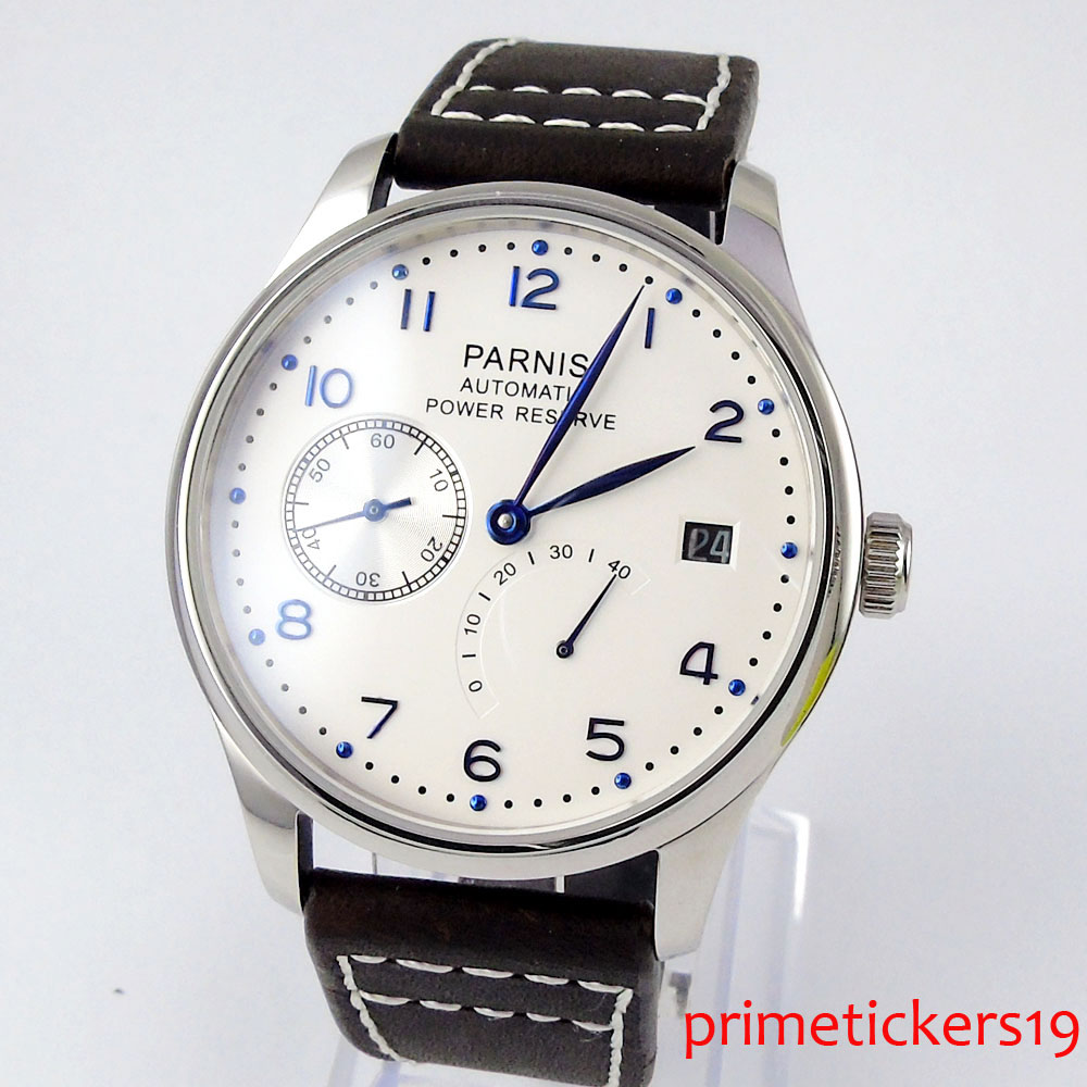 43mm parnis white dial black strap power reserve blue marks <font><b>ST2530</b></font> automatic mens watch image