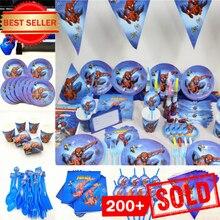 Décorations décoratives pour anniversaire Spiderman, 82 pièces/ensemble, nappes, assiettes, gobelets, serviettes, super héros pour fête prénatale pour enfants