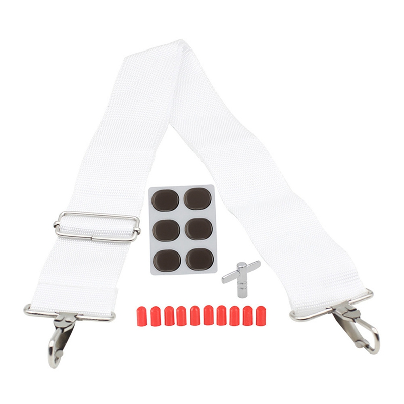 ABUO-4 In 1 Adjustable Snare Drum White Strap +Keys Wrench + Drum Stick Cover+ Drum Mute Pads Set