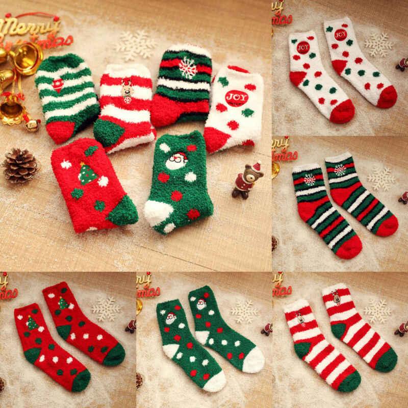 1 paar Nieuwe Mooie Dames Zachte Pluizige Gezellige Bed Sokken Winter Warm Kerstcadeau Casual Xmas Grappige Print Fleece Sok