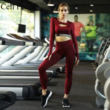 Seamless Yoga Set Women Workout Clothes Long Sleeve Fitness Crop Top And Gym Legging Push Up Sports Bra 2 Pcs Sport Suit