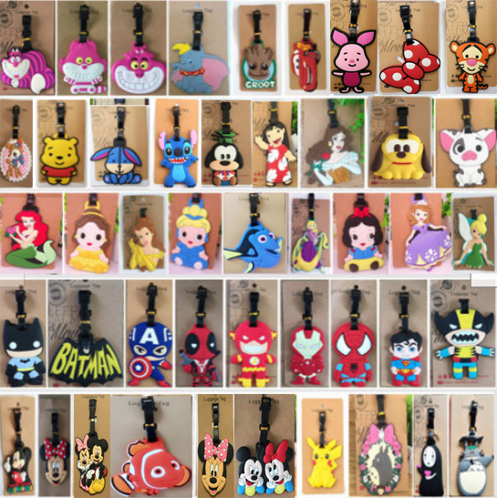 Mickey Mermaid Buzz Anime Luggage Tag PVC Pendants Portable Travel Label Suitcase ID Address Baggage Holder Tags Gifts Unisex