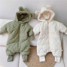 Hoodie Longsleeve Baby-Boys-Girls Winter Bodysuit Romper Ear Green Padded Beige Warm