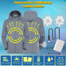 Men Women Sun Protective Coat with 2 Fans Waterproof UV Protection Fast Dry SP99
